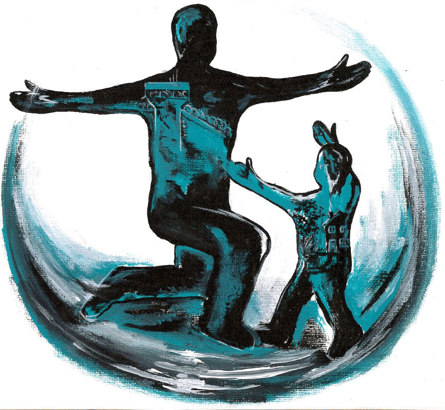 logo image of man, on one knee, and child both with arms outstretched greeting one another